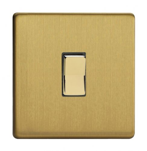 Varilight XDBR1S Screwless Brushed Brass 1 Gang 10A 1 or 2 Way Retractive Light Switch
